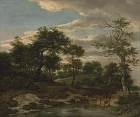 Jacob van Ruisdael - Rolling wooded landscape with cattle on a flooded road.jpg