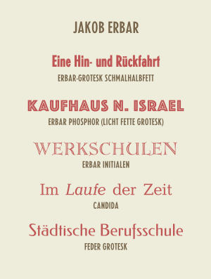 Jakob Erbar - Exemplar of some of the fonts designed by Jakob Erbar.