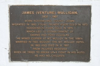 James Venture Mulligan - Memorial plaque at Mount Molloy