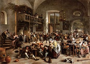 Tavern - A Dutch tavern scene by Jan Steen, late 17th century