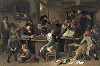 A Riotous Schoolroom with a Snoozing Schoolmaster