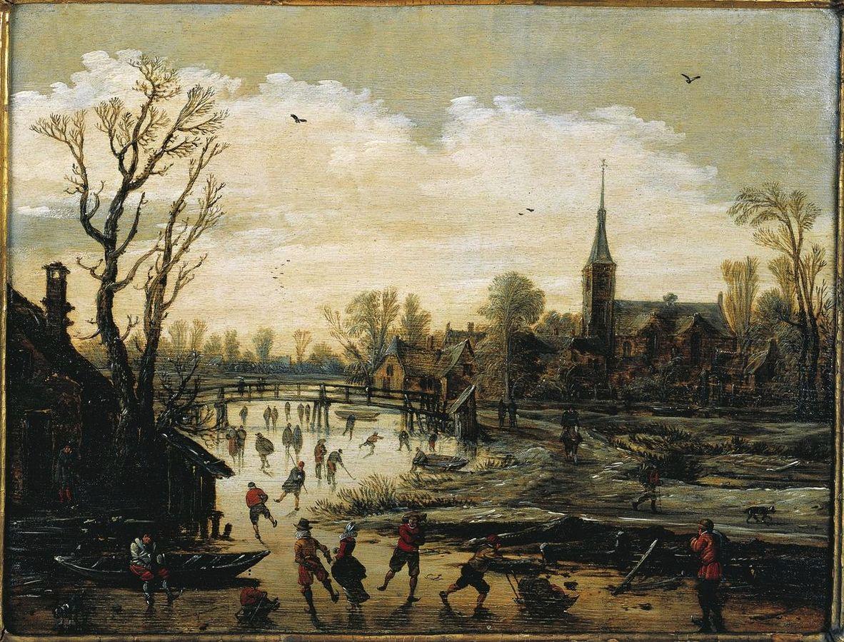 Iceskating near a village