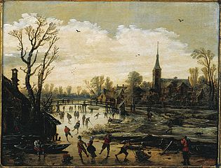 Iceskating near a village