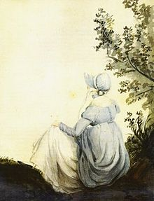 A sketch of a woman from the back sitting beneath a tree and wearing early 19th-century British clothing and a bonnet