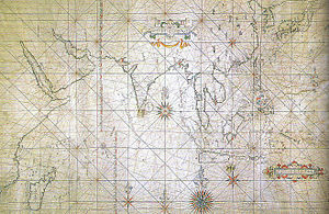 Japan–Thailand relations - Japanese portolan sailing map, depicting the Indian Ocean and the East Asian coast, early 17th century.
