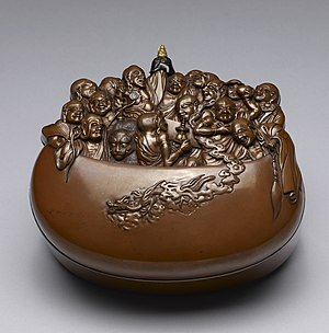 Sixteen Arhats - Image: Japanese Covered Box in the Shape of Sixteen Arhats in a Begging Bowl Walters 5394