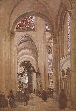Sens Cathedral - Interior of the cathedral, by Jean-Baptiste-Camille Corot, c. 1874.