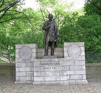 Ferdinand Freiherr von Miller - Statue of J. Marion Sims on Fifth Avenue, on the wall of Central Park, NYC