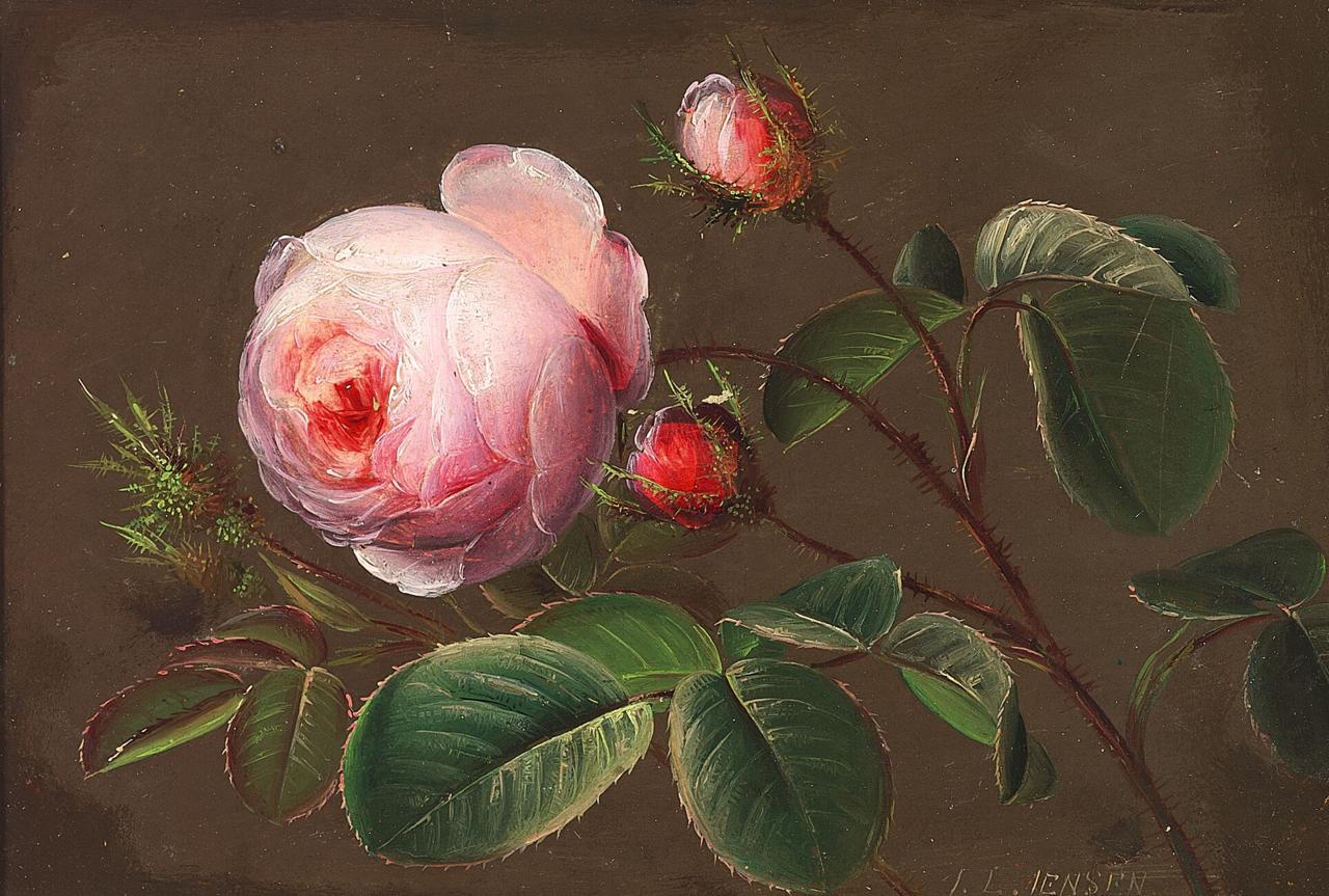 Johan Laurentz Jensen - Gren med lyserøde roser.png