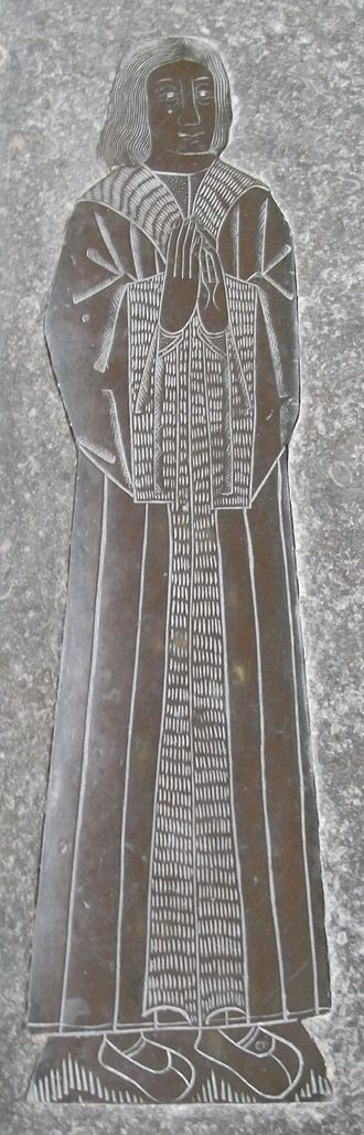 William Denys - Monumental brass of John Twynyho (died 1485), father-in-law of William Denys,  at Lechlade Church, Glos. Set in floor of north aisle