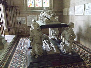 Cardinal virtues - The Tomb of Sir John Hotham, supported by figures of the cardinal virtues.