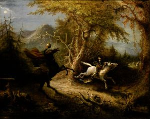 The Legend of Sleepy Hollow - The Headless Horseman Pursuing Ichabod Crane (1858) by John Quidor