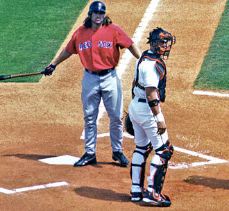 Johnny Damon - Damon at bat for the Red Sox in spring training 2005