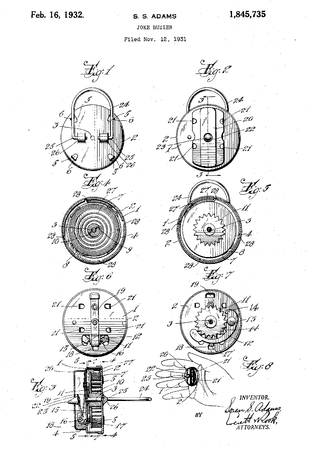 Joy buzzer - Patent drawing, from Soren Adams's 1932 US patent application.