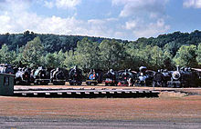 a photograph of locomotives at the turntable at Steamtown, USA, Bellows Falls, Vermont