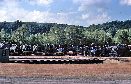 a photograph of locomotives at the turntable at Steamtown, U.S.A., Bellows Falls, Vermont