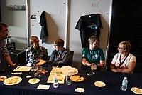 Julia Reda at Wikimedia Italia stand - Wikimania 2015 01.JPG