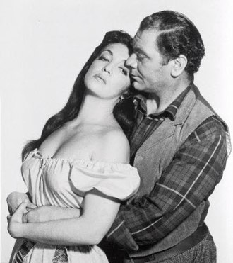 Katy Jurado - Jurado with Ernest Borgnine in the 1958 film The Badlanders (1958)