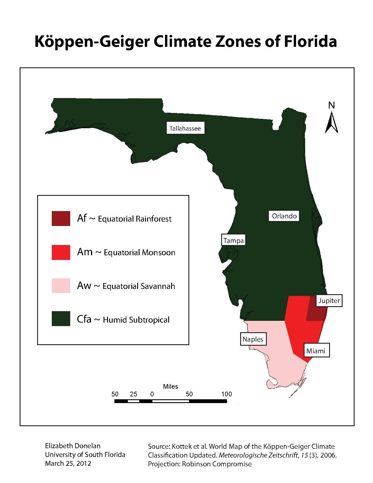 Source Koppen Geiger Climate Zones Of Florida