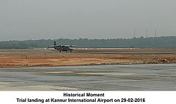 Trial landing at Kannur Airport (Aircraft: Dornier 228 of the Indian Air force)