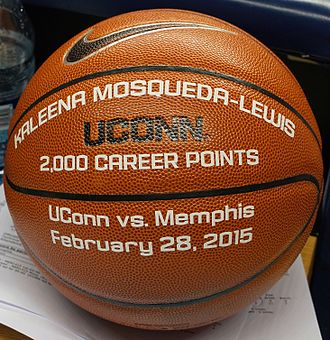 2014–15 Connecticut Huskies women's basketball team - Kaleena Mosqueda-Lewis ball commemorating 2000th career point