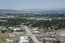 A bird's eye view of the city of Kalispell, Montana