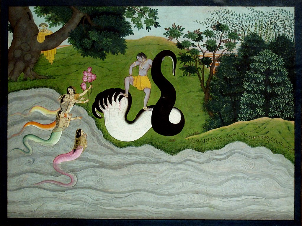 Kaliya's wifes and Krishna. Kangra c.1785-90. Painting of India.JPG