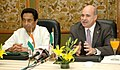 Kamal Nath and the Minister of Economy of Mexico, Mr. Eduardo Sojo Garza-Aldape are jointly briefing the press after the signing ceremony of the MoU on the establishment of a Bilateral High Level Group on Trade.jpg