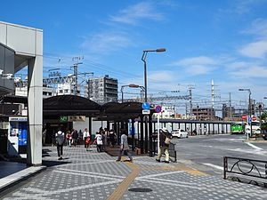 Kanamachi Station - The south entrance in May 2015