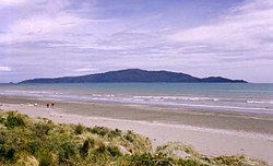 Looking across Waikanae Beach to Kapiti Island