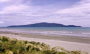 Kapiti Island - Kāpiti Island seen from Waikanae Beach, Kapiti Coast.