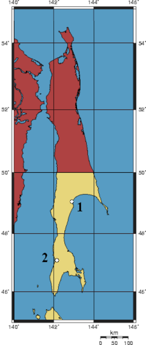 Sakhalin Koreans - Image: Karafuto Massacres Map