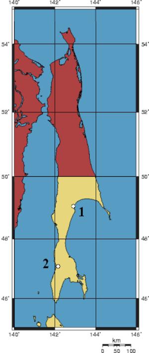 Sakhalin Koreans - Image: Karafuto Massacres Map