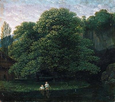 Karl Friedrich Schinkel - Landschaft mit zwei badenden Kindern (ca.1800).jpg