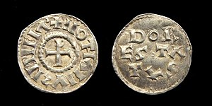 Lothair I - Carolingian denier of Lothair I, struck in Dorestad (Middle Francia) after 850.