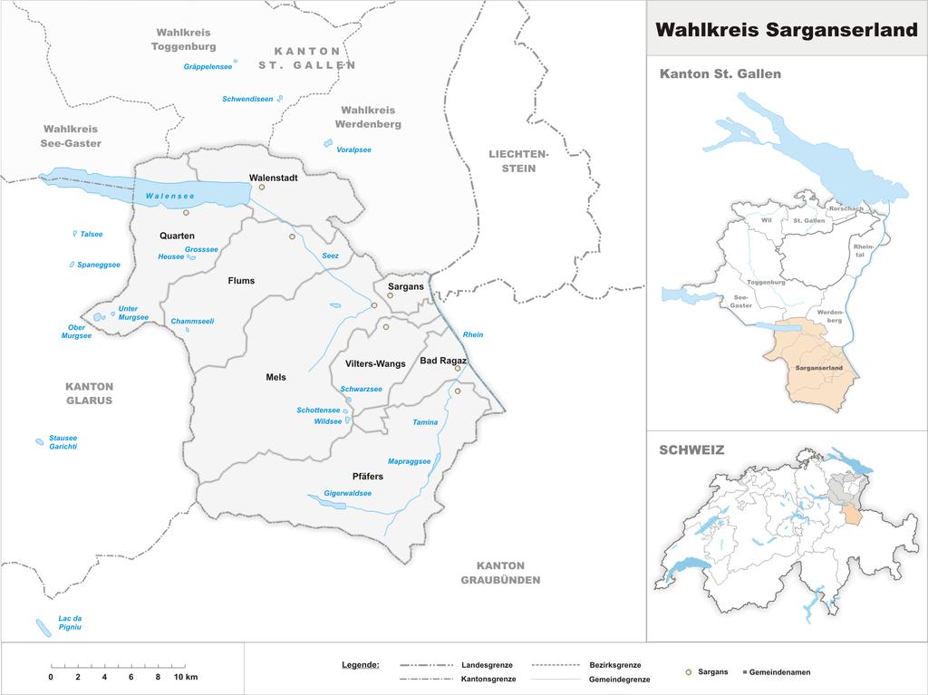 Karte von Wahlkreis Sarganserland