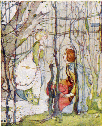 """Thomas the Rhymer - From Thomas the Rhymer (retold by Mary MacGregor, 1908) """"Under the Eildon tree Thomas met the lady,"""" illustration by Katherine Cameron"""