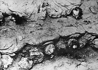World War II casualties - Polish military officers executed by the Soviet NKVD in the Katyn massacre, exhumation photo taken by the Polish Red Cross delegation in 1943.