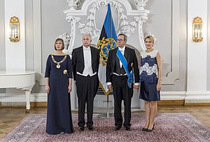 Kersti Kaljulaid - Kaljulaid, her husband Georgi-Rene Maksimovski, outgoing President Toomas Hendrik Ilves, and his wife Ieva Ilves at Kaljulaid's inauguration, Kadriorg Palace, Tallinn, 10 October 2016