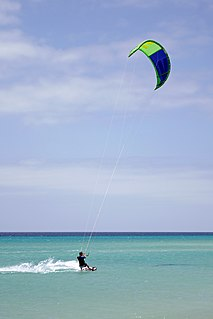 Kiteboarding action sport combining aspects of wakeboarding, snowboarding, windsurfing, surfing, paragliding, skateboarding and sailing into one extreme sport