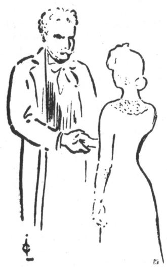 Egil Eide - Egil Eide as Brodersen, with Johanne Dybwad in Gunnar Heiberg's Kjærlighet til næsten (1903). Drawn by Gustav Lærum.