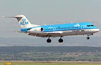 KLM Fokker 70 lands at Bristol International Airport, England