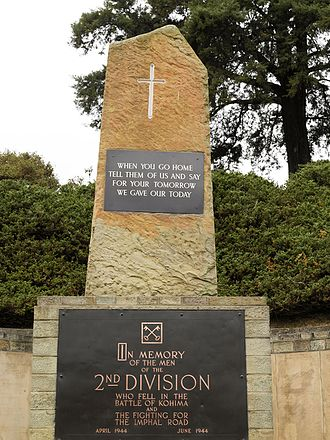 Naga people - Second World War memorial at Kohima, Nagaland. The Nagas participated actively to the peace in the world. These tribes from the Indo Burmese borderland were in the past headhunters.