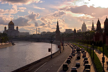 Kremlin Embankment and Moscow skyline with Cathedral of Christ the Saviour on the left and Kremlin on the right