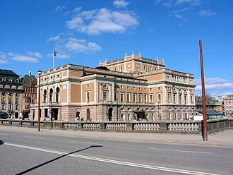 Royal Swedish Opera - The Royal Swedish Opera. View from the Royal Palace across Norrbro bridge