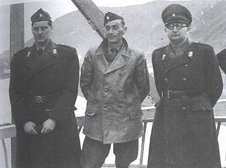 Dido Kvaternik - Kvaternik with Jure Francetić and Foreign Minister Mladen Lorković (from left to right) on a bridge on the Drina, the former border to Serbia (Zvornik, April/May 1942)