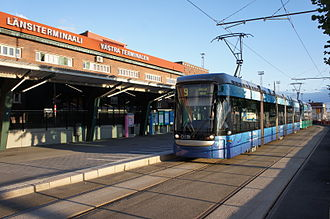 West Harbour, Helsinki - Trams outside the passenger terminal (West Terminal).