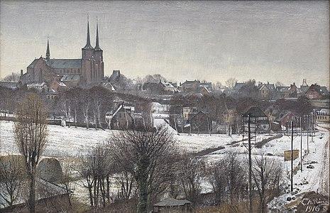 L.A. Ring, Udsigt over Roskilde fra Sankt Jørgensbjerg, 1916, OPC 30, Statsministeriet