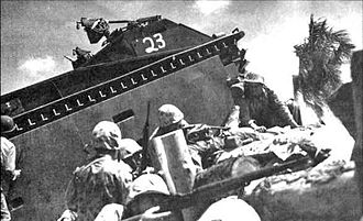 "Battle of Tarawa - Marines alongside an LVT-1 ""Alligator"""