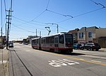 L Taraval train on Vicente Street, June 2018.JPG